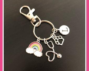 Vet gifts, vet nurse, vet tech keyring, personalised veterinary gift idea for him her
