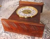 Barn Wood cherry Wood mantle clock,vintage clock salvaged 1830 39 s barn beams barn doors,mantle shelf,antique mantle clock.