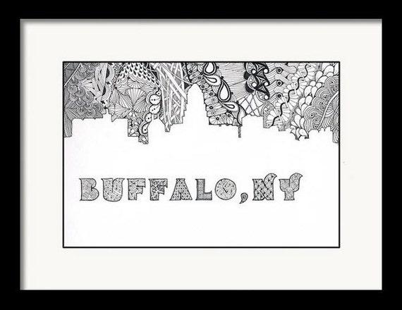 Pluma y tinta horizonte de búfalo Buffalove Zentangle   Etsy