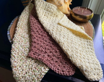 Tan Medley Crochet Bathing Cloth Set of Three with FREE Soy Candle