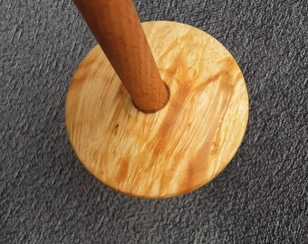 Drop spindle - Hand made - bottom whorl dropspindle - Box elder burl and beech -  Tibetan