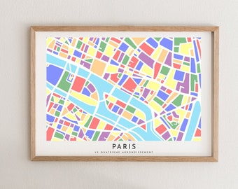 Paris Map Paper Cut - Paper Cut Map - Paris Wall Art - Paris Map - Map of Paris - Paris 75004 Souvenir - Paris Souvenir