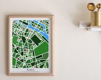 Paris Map Paper Cut - Paper Cut Map - Paris Wall Art - Paris Map - Map of Paris - Paris 75005 Souvenir - Paris Souvenir - Jardin des Plantes