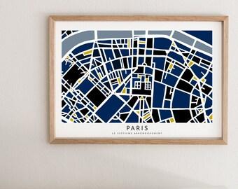 Paris Map Paper Cut - Paper Cut Map - Paris Wall Art - Paris Map - Eiffel Tower - Paris 75007 Souvenir - Paris Souvenir - Map of Paris Gift