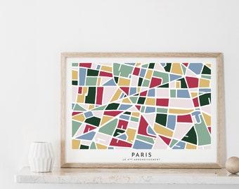 Printable Paris Map, Paper Cut Wall Art, Paris Travel Gift, French Decor, Paris 9th Arrondissement Colorful Print