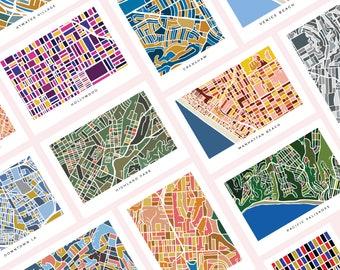 Set of 14 Postcards of Los Angeles Map Prints