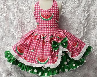 d21e625f68ef Watermelon Festival Ants Hot Pink Gingham, Eyelet & Green Polka Dot Twirly  Square Dance Halter Dress Sundress Infant Baby Toddler Girls