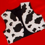 Cute Cowgirl or Cowboy lined Vest in Black and White Cow Print Infant Toddler and Girl's/Boy's Cow Print Vest Toddler Cow Print Vest