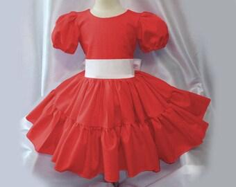 48ae2944a5 Pretty Bright Red Color Twirly Square Dance Dress
