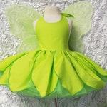 Tinkerbelle Petals Skirt Dress with built in petticoat Halloween Costume Infant Baby Toddler Girl, Tinkerbelle Tinker Bell Costume Dress