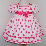 White & Hot Pink Polka Dot Shirley Temple Baby Doll Style Short Puffy Sleeve Dress Infant Baby Toddler Girl, Shirley Temple Costume Dress