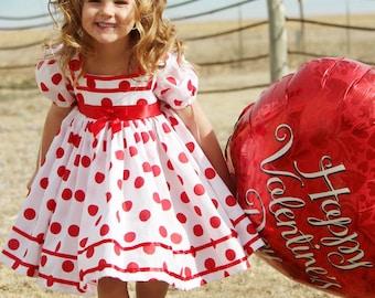 dad691b17e White & Red Polka Dot Shirley Temple Short Puffy Sleeve Dress Halloween  Costume Infant Baby Toddler Girl, Shirley Temple Costume Dress