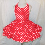 Red and White Polka Dot Twirly Halter Dress Sundress with full ruffled skirt Infant Baby Toddler Girls Small dots red and white dress