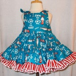The Cat in the Hat Twirly Sundress Boutique Dress bright cute print cool cotton fabric Baby Infant Toddlers Girls Sizes