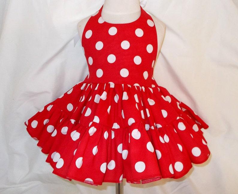 Red and White Polka Dot Twirly Halter Dress Sundress full image 0