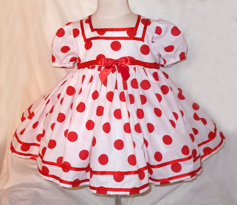 White & Red Polka Dot Shirley Temple Short Puffy Sleeve Dress image 0