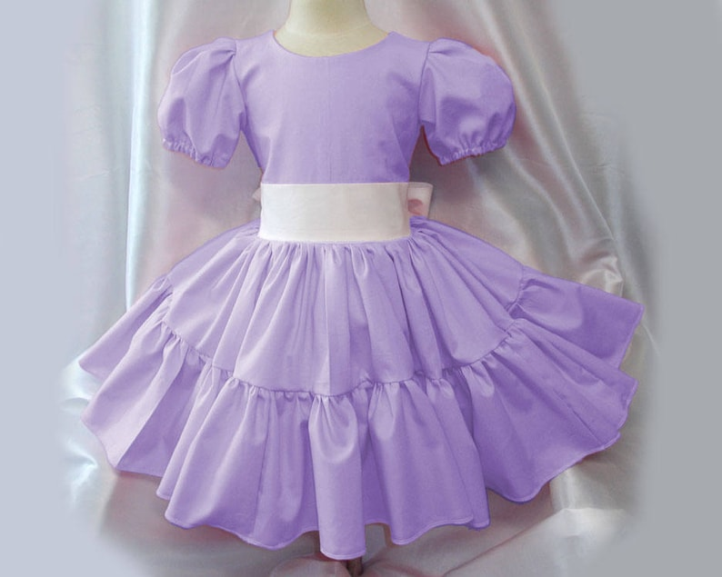 Lilac Twirly Square Dance Dress with puff sleeves and waist image 0