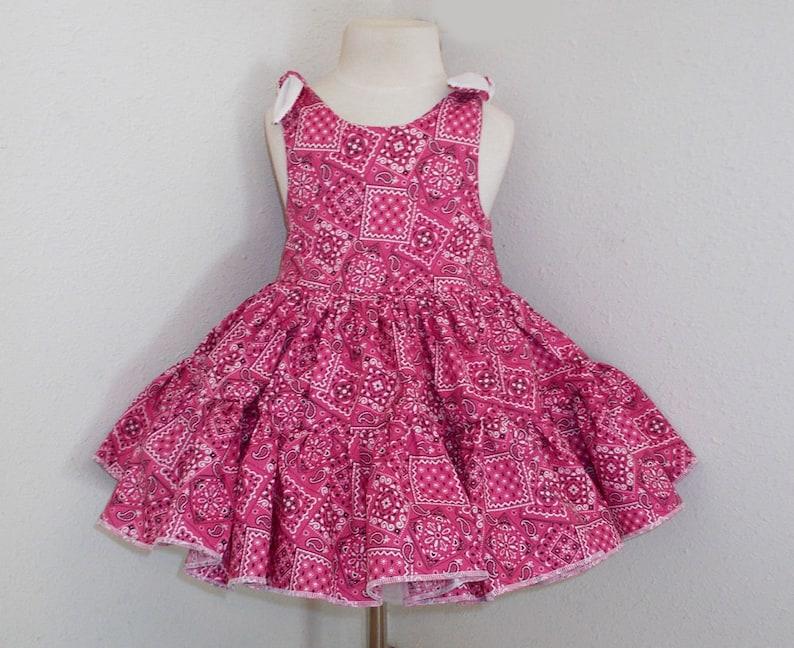 Cowgirl Twirly Sundress Boutique Dress Hot Pink Bandana print image 0