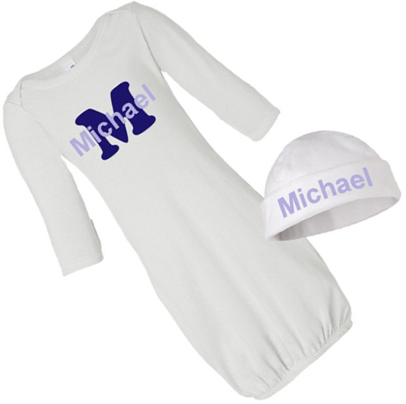 Baby Shower Gift. Personalized Baby Boy Applique Initial /& Name Newborn Baby Gown and Hat Cap Set Baby Gift