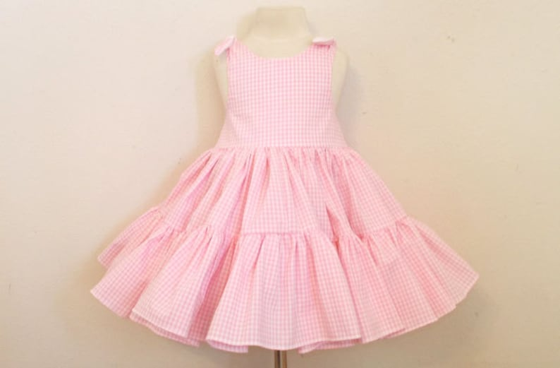 Pretty Pink Gingham Two Tiered Twirly Sundress Square Dance image 0