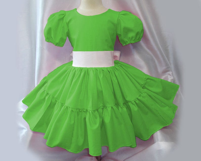 Pretty Kelly Green Color Twirly Square Dance Dress puff image 0