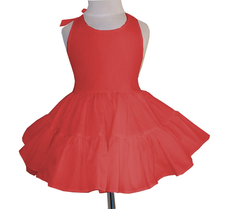 Solid Red Twirly Halter Dress Sundress with full ruffled skirt image 0