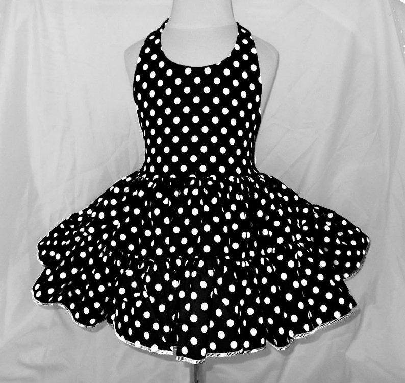 Black and White Polka Dot Twirly Halter Dress Sundress with image 0