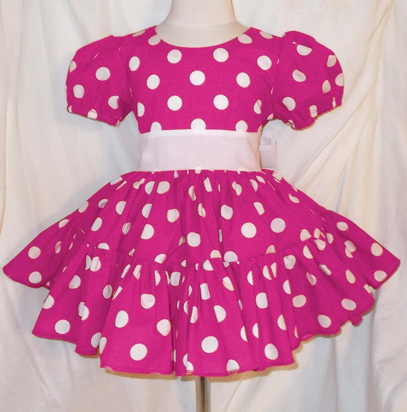 Hot Pink and White Polka Dot Minnie Mouse Inspired Dress with image 0