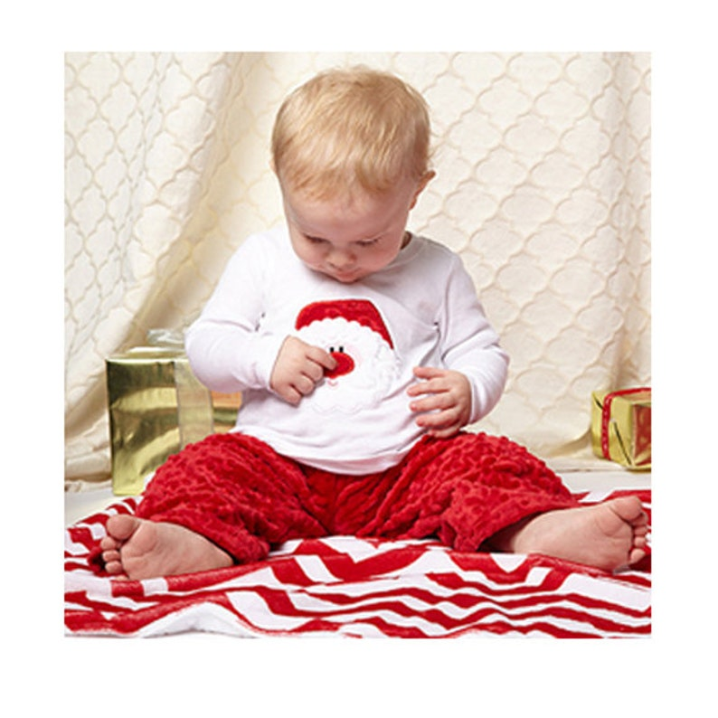 Little Boy's Applique Christmas Santa Face Tee and Minky image 0