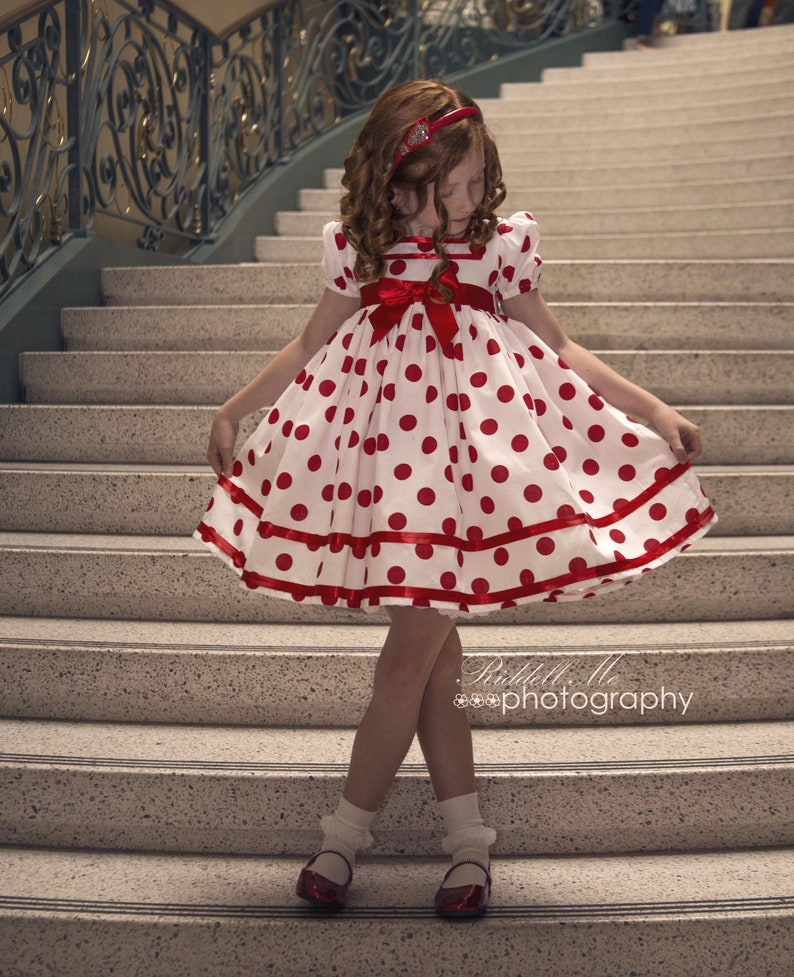 White & Red Polka Dot Shirley Temple Baby Doll Style Short image 0