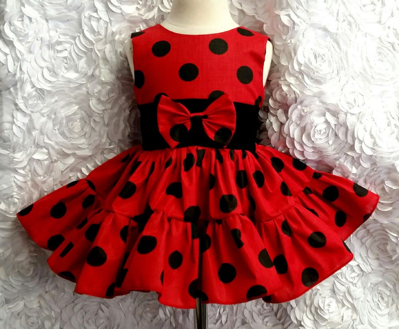 Red and Black Polka Dot Sleeveless Square Dance Dress with image 0