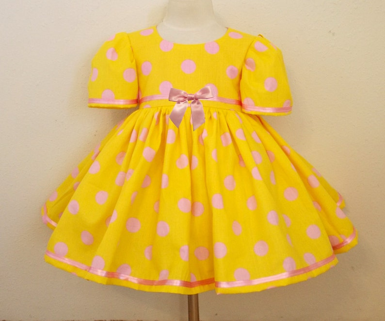 Pink and Yellow Polka Dot Easter and Spring Short Puffy Sleeve image 0
