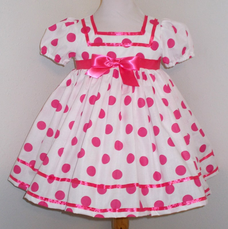 White & Hot Pink Polka Dot Shirley Temple Baby Doll Style image 0