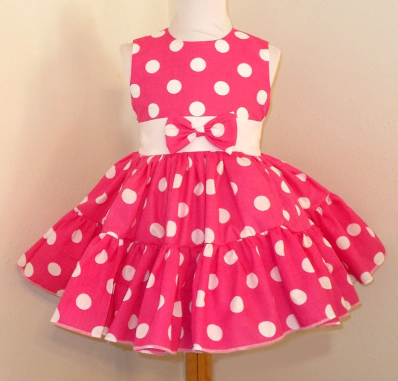Hot Pink and White Polka Dot Sleeveless Square Dance Dress image 0