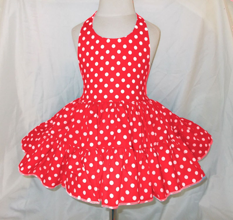 Red and White Polka Dot Twirly Halter Dress Sundress with full image 0