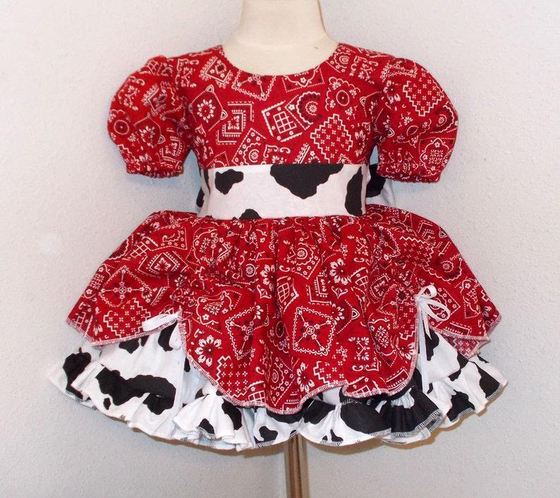 0b749428c2ca5 Red Bandana   Cow Print Cowgirl Twirly Square Dance Puff