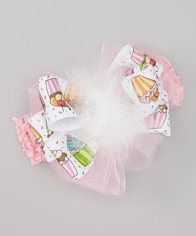 Cupcakes and Pink Pretty Birthday Celebration Big Bow Maribou image 0