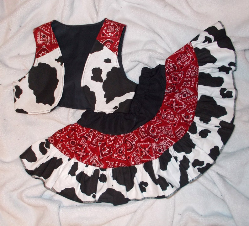 Cute Cowgirl Ruffled Twirly Skirt and Vest Set in Bandana Red image 0