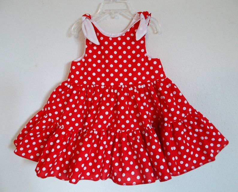 Red Polka Dot Twirly Sundress Square Dance Dress Minnie Mouse image 0