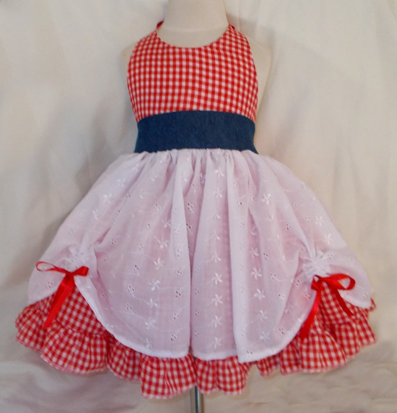 Gingham Eyelet and Denim Country Girl Cowgirl Twirly Square image 0