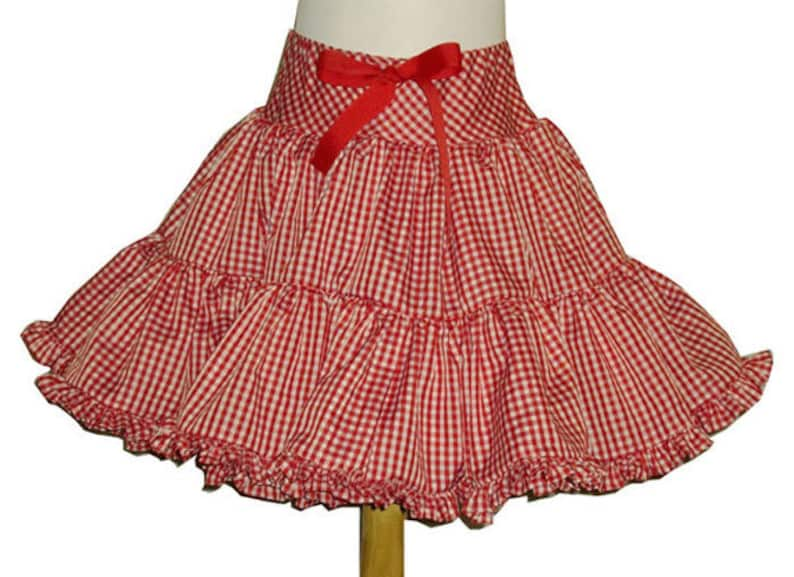 Fluffy Gingham Square Dance Twirly Skirt you choose gingham image 0