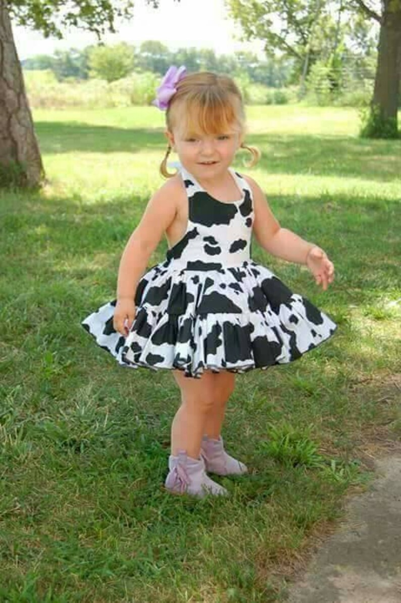 Adorable Cow Print Cowgirl Twirly Square Dance Dress Sundress image 0
