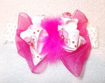 Perfect for Birthdays! Hot Pink Chiffon Princess Infant Toddler and Girls Big Bow Maribou Headband