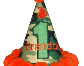 Personalized Green Camo and Orange Birthday hat embroidered with year number, and name. First Birthday up to 5!