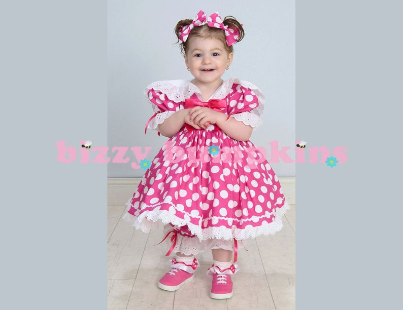 Hot Pink and White Polka Dot Baby Doll Eyelet Trim Sailor image 0