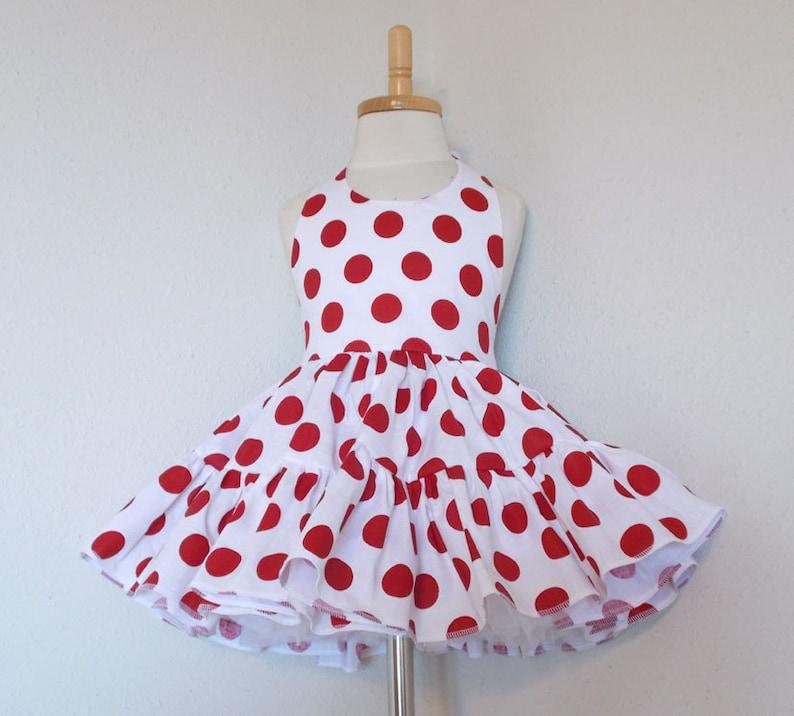 White & Red Polka Dot Twirly Halter Dress Sundress full image 0