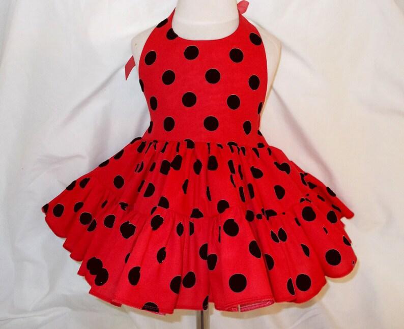 Red and Black Polka Dot Twirly Halter Dress Ladybug Sundress image 0