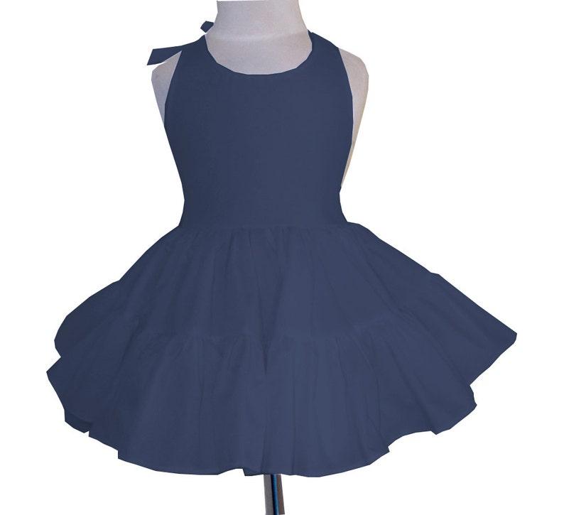 Solid Navy Blue Twirly Halter Dress Sundress with full ruffled image 0