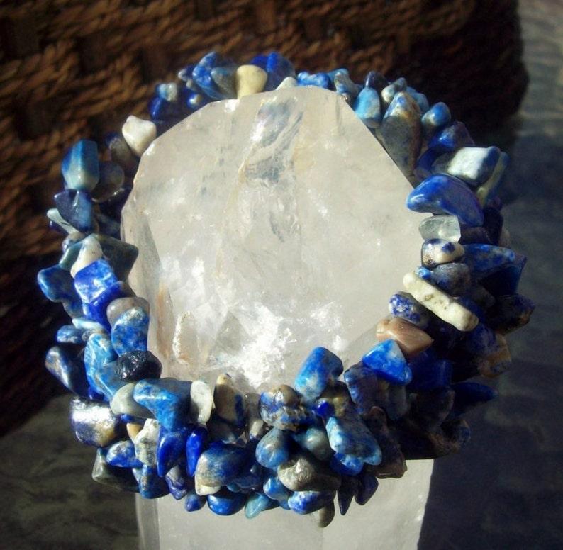 Lapis jewelry Blue stone bracelet Denim Lapis bracelet stretch BLUE BEAUTY lll Denim Lapis bracelet