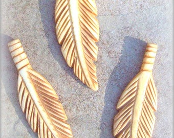 "3 carved bone feathers - antiqued, 2.5"" elk bone feather pendants, bone feathers, three 2.5"" carved feather, feather pendant"